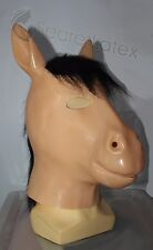 LATEX RUBBER FLESH GUM FETISH HORSE FULL HEAD HOOD BLACK MANE STALLION MEN MASK