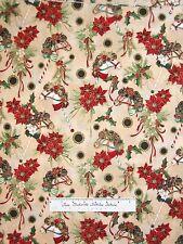 Christmas Fabric - Dashing All The Way Horse Carousel Pole Beige - Hoffman YARD