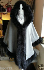 WOMENS GREY BLACK LUXURY FLUFFY FAUX FUR HOODED WINTER CAPE COAT PONCHO 1 SIZE