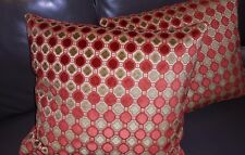 Highland Court Throw pillows geometric cut Velvet fabric Tomato Custom new PAIR