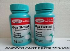 2 SIMETHICONE 80 MG GAS RELIEF ANTI GAS FAST ACTING 72 Chewable Tablets New