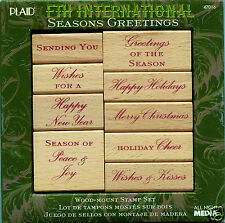 Season's Greetings ~ ANNA GRIFFIN Wood Mount Rubber Stamp Set #47016, Christmas