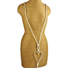 Lagenlook matte silver elongated large open heart pendant bead long necklace