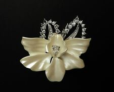 Nolan Miller Ivory Flower w/ Crystals Pin Brooch Silver-Tone Signed