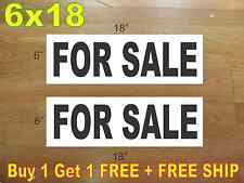 """6""""x18"""" FOR SALE Black REAL ESTATE RIDER SIGNS Buy 1 Get 1 FREE 2 Sided"""
