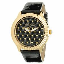 Invicta 22563 Lady's Quartz Black Leather Strap Black Dial Watch