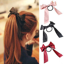 Womens Multicolor Scrunchie Ponytail Holder Satin Ribbon Bow Hair Band Rope &YEN