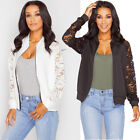 Women Ladies Floral Lace Bomber Jacket Vintage Summer Coat Retro Army Biker Tops