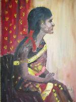 Vintage Original Oil Painting On Board ' Lady ' - 1960's