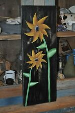 Handpainted Distressed Wood Sunflower Sign Primitive Rustic Folk Art Decor