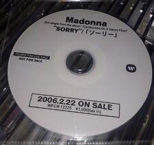 RARE MADONNA SORRY JAPANESE PROMO CD SINGLE - JAPAN/ENGLISH DETAILS ON DISC 2006