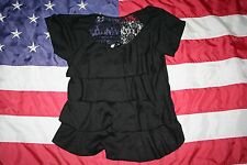 FREE KISSES Black Ruffle/Lace Top Size Jr Small: shirt/blouse/emo/goth  #4283