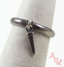 Sterling Silver Vintage 925 Dangle Railroad Spike Band Ring Sz 5 (2.3g) - 549553