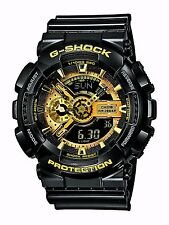 Casio G Shock Black Gold Dial Dive World Time Analog Digital Watch GA110GB-1