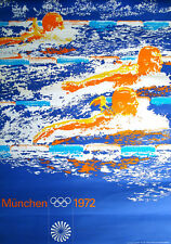 1972 MUNICH OLYMPICS SWIMMING A1 23x33.5 poster OTL AICHER art RARE VINTAGE NM