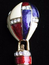 RED WHITE PURPLE RHINESTONE FLYING HOT AIR BALLOON PIN BROOCH JEWELRY 3D 1.75""
