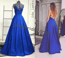 Sexy V Neck Backless Party Prom Ball Pageant Dresses Evening Gowns Custom