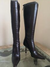 Jimmy Choo Black Pointed Toes Boots Heels Nero Leather Knee High 35 5 $965