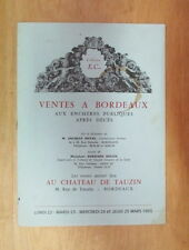 CATALOGUE DE VENTE AU CHATEAU DE TAUZIN OBJETS D ART FAIENCE MONTRE 1965