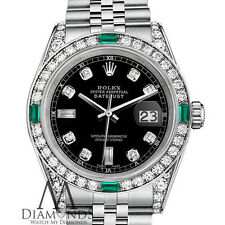 Ladies Rolex Datejust 26mm Steel Black  Emerald Diamond Dial Watch With A Track