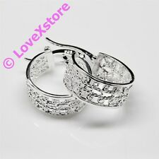 925 Sterling Silver Plated Engrave C Earring Dangle Earrings Free Shipping e