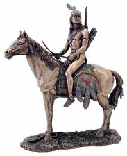 "9.75"" Apache Indian on Horse Indio Statue American Native Warrior Collectible"