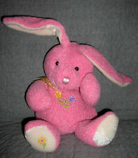MAIN JOY  plush PINK BUNNY RABBIT  with FLOWERS on FRONT, FOOT   SIZE: 12 INCH