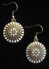 Earrings Silver White Boho Hippie Ethnic Festival Tribal Folk Gypsy Bohemian
