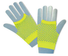 Short Neon Yellow Fishnet Gloves Fame Nu Rave Festival 80'S Disco Fancy Dress