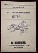 Niemeyer Rotorschwader RS 280 D , RS 310 D , RS 310 Ersatzteilliste
