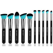XMY 10 Makeup Brushes Face Eye Cosmetic Applicator Fashion Green Bristle Silver