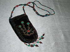 Estate Long Turquoise & Coral Glass Bead with Purple Velvet Pouch & Fringe Neck