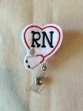 Stethoscope RN Felt Retractable Reel ID Badge Holder Lanyard Clip Rn Nurse