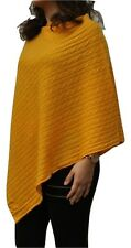 100% Pure Cashmere Cable knit Poncho In Golden Apricot Handcrafted In Nepal