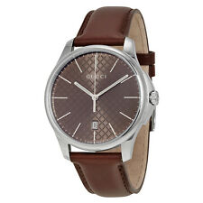Gucci G-Timeless Large Brown Diamond Pattern Dial Brown Leather Mens Watch