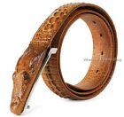 Crocodile-Embossed Calfskin Leather Belts,Genuine Leather Alligator Design B18Y