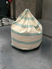 Striped Fabric Bean Bag Chair Foot Stool With Poly Beads Filling