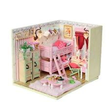 DIY Handcraft Miniature Project Kit Dolls House Bedroom w Bunk Bed Furniture