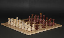 """16"""" Chess Set Fossil Stone & Red-Brown Handmade in Velvet/Suede Gift Box"""