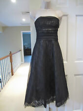 BCBG MAXAZRIA Black Lace Tulle Corset Strapless Full Cocktail Party Dress SIZE 6