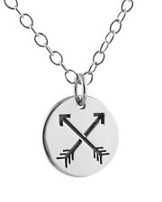 Arrow Charm Necklace - 925 Sterling Silver Crossed Arrows Friendship Archery NEW