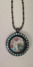 Easter Aqua CZ Gun Metal Charm Locket with Beaded Chain Fit Origami Owl Charms