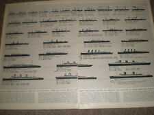Blue riband winning steamships from 1838 onwards 1955 old prints ref Z