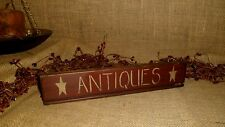 PRIMITIVE WOOD ANTIQUES SHELF SITTER STAR SIGN barn red AGED COUNTRY HOME DECOR