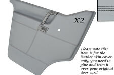 BLACK STITCH 2X DOOR CARDS GREY LEATHER COVERS FITS VW T4 TRANSPORTER CAMPER
