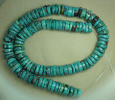 "Turquoise 10mm Rough Cut Heishi Beads Natural Green Colors 16"" Std Craft # 923"