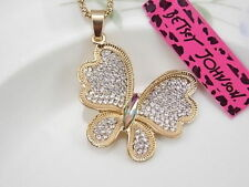 Betsey Johnson fashion crystal Butterfly Pendant Necklace Sweater chain JJ07