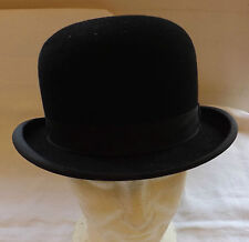 Original Vintage Gentlemen's Black Bowler Hat By G.A.Dunn Size 6 7/8 Small (2409