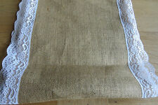 Lace Edged Burlap Table Runner/Banner - Approx 35cm Wide - Price per Metre