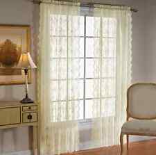 "PETITE FLEUR Ivory Lace 63"" Long Curtain Panel Pair by Saturday Knight"